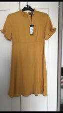 PRIMARK MUSTARD YELLOW RUFFLE DRESS SIZE 10 BRAND NEW WITH TAGS