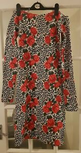 Vintage Leopard Print and Floral Dress From Beyond Retro Size L Rockabilly