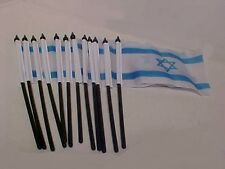 12 Pack Israel Flags 4 inch x 6 inch Israeli Mini Flag Jewish Black Stick