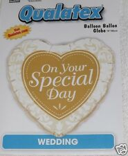 """On Your Special Day"" Wedding Balloon, Retail Package, 18"" Foil Heart Shape Gold"