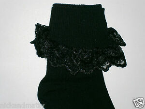 GIRLS BLACK ANKLE SOCKS WITH LACE TRIM; SIZE 9-12 SMALL UK SHOE SIZE