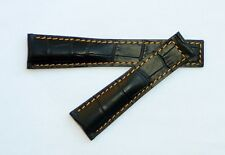 20mm, 20/18mm for TAG Heuer with Orange Stitching Alligator-Style Band Strap
