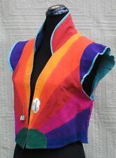 Vintage Women's Vest Eclectic One of a Kind 80'S M Color Blocking Reversable