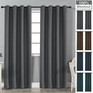 100% Blackout Window Curtains Thermal Insulated Drapes Eyelets Ring Top Bedroom