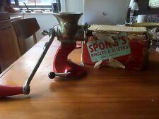 Vintage Retro Spong 601 Red Stainless Steel Mincer Grinder Boxed