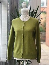 Marks and Spencer pure cashmere Cardigan Size 12 10  jumper Lime Green