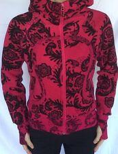 LULULEMON Size 4 Scuba Hoodie Sweatshirt Zip Up Jacket Red Black Floral GUC