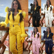 Womens Waterproof Snow Suit Set Warm Ski Fur Jumpsuit Snowboard Overall Hood