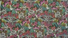 Alexander henry folklorico Catrina chiquita skull mexican white fabric fq