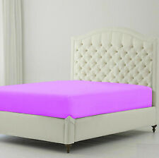 Soft Quality 1 pc Fitted Sheet Egyptian Cotton Queen Size Purple Solid