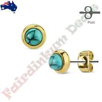 Pair of Gold Plated Bazeled Semi Precious Turquoise Stone S Steel Stud Earrings