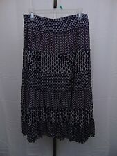 JM Collection Petite Tiered Multi-Print Maxi Skirt PXL Navy Blue & Pink #1268