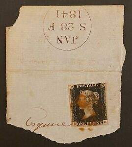 1840 1d BLACK ON 1841 PIECE WITH RED MALTESE CROSS AND 3 GOOD MARGINS