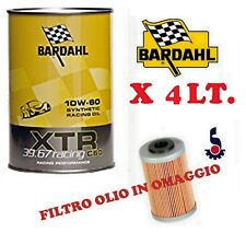 4 LITRI OLIO BARDAHL XTR 10W60 C60 39.67 RACING MOTORE AUTO FILTRO OLIO OMAGGIO