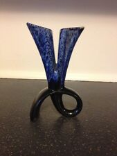 Vintage Antique Retro Rare Marbled Blue Cobalt Ceramic Flower Vase Home Decor