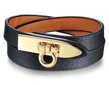 Womens Fashion Simple Creative Jewellery Black Genuine Leather Bracelet Gold