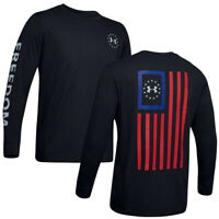 NWT UNDER ARMOUR AUTHENTIC FREEDOM FLAG MEN'S BLACK LONG SLEEVE T-SHIRT SIZE S