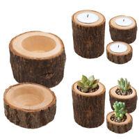 Creative Natural Wood DIY Making mini Candlestick Flower Pot Home Decoration_ti