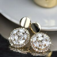 18k yellow gold gf stud made with Swarovski crystal luxury dangle drop earrings
