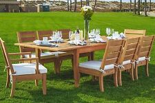 "Atnas 7pc Dining 122"" Rectangle Table Chair Set A-Grade Teak Outdoor Garden New"