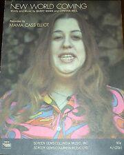 """MAMA CASS ELLIOT """"NEW WORLD COMING"""" PIANO/VOCAL/GUITAR SHEET MUSIC 1970 RARE!!"""