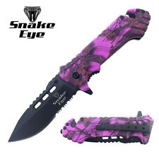 Snake Eye Tactical Action Assist Camouflage Designed Folding Pocket Knife PURPLE