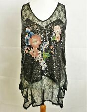 NEXT Lace Sequin & Embroidery Top Black Size UK 16 Dh180 WW 03