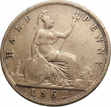 1862 UK Great Britain United Kingdom QUEEN VICTORIA Genuine 1/2Penny Coin i79487