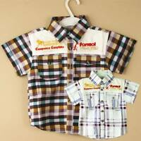 New Summer Cute Cool American Cow Boy Style Boys Childrens Cotton Checked Shirt