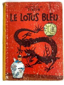1958 Le Lotus Bleu Les Aventures de TinTin Herge Casterman Hardcover French
