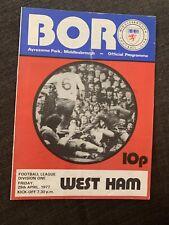 1977 Middlesbrough  V West Ham Football Programme