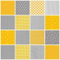 Grey & Mustard 100% Cotton FABRIC by the metre CHEVRON TRIANGLE GEOMETRIC DOT
