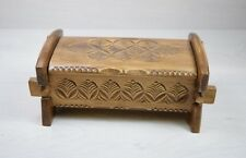 Antique Wood Wooden Carved Trinket Jewelry Box Flower Motives 1950's Handmade