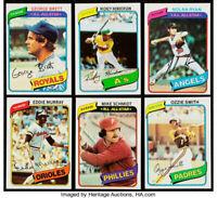 1980 Topps Baseball Cards Singles U-Pick #'s 251-500 NM FREE SHIPPING !!