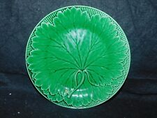 ANTIQUE WEDGWOOD GREEN MAJOLICA LEAF PLATE 8""