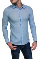 Camicia di lino uomo sartoriale celeste casual elegante con collo classico
