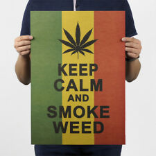 Jamaica Reggae Style Keep Calm and Smoke Weed Poster Wall Sticker Decal Gift