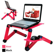 Alloy Adjustable Folding Computer Laptop Desk With Cooling Fans Stand Bed Tray