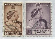Turks & Caicos 1948 Silver Wedding set with 10/ both CDS used