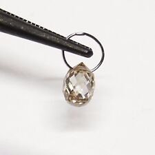 18K Solid White Gold Faceted Champagne Diamond Teardrop Briolette Charm