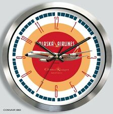 ALASKA AIRLINES CONVAIR 880 WALL CLOCK METAL 1960'S