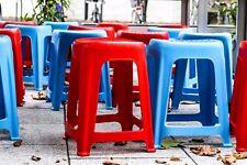 4 x Plastikstuhl/Sitzhocker: Streetfood geeignet, 40x36x47cm, rot