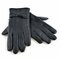 Womens Ladies Thin Winter Warm Black Fleece Lined Real Sheepskin Leather Gloves