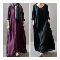 Vintage Casual Women Loose Long Sleeve Linen A-Line Maxi Dress Lagenlook -100