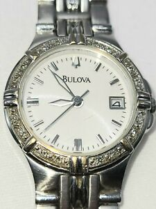 BULOVA 96R04 16 DIAMONDS LADIES  WATCH S/S CASE WHITE DIAL /ANALOG NICE