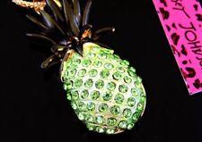 Betsey Johnson Necklace PINEAPPLE HAWAII ALOHA Green Gold Crystals TROPICAL