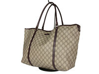 GUCCI GG Web PVC Canvas Leather Browns Shoulder Bag GT2497