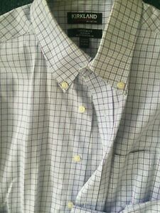 MENS KIRKLAND LONG SLEEVE BUSINESS/CASUAL SHIRT - PINK AND WHITE CHECK SIZE 41