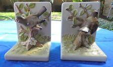 Vintage 1980'S Otagiri Fitz & Floyd Sparrow Bird Hand Painted Ceramic Bookends