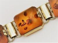Bernstein Armband Vintage Amber Bracelet 830er Silber vergoldet  (BN)